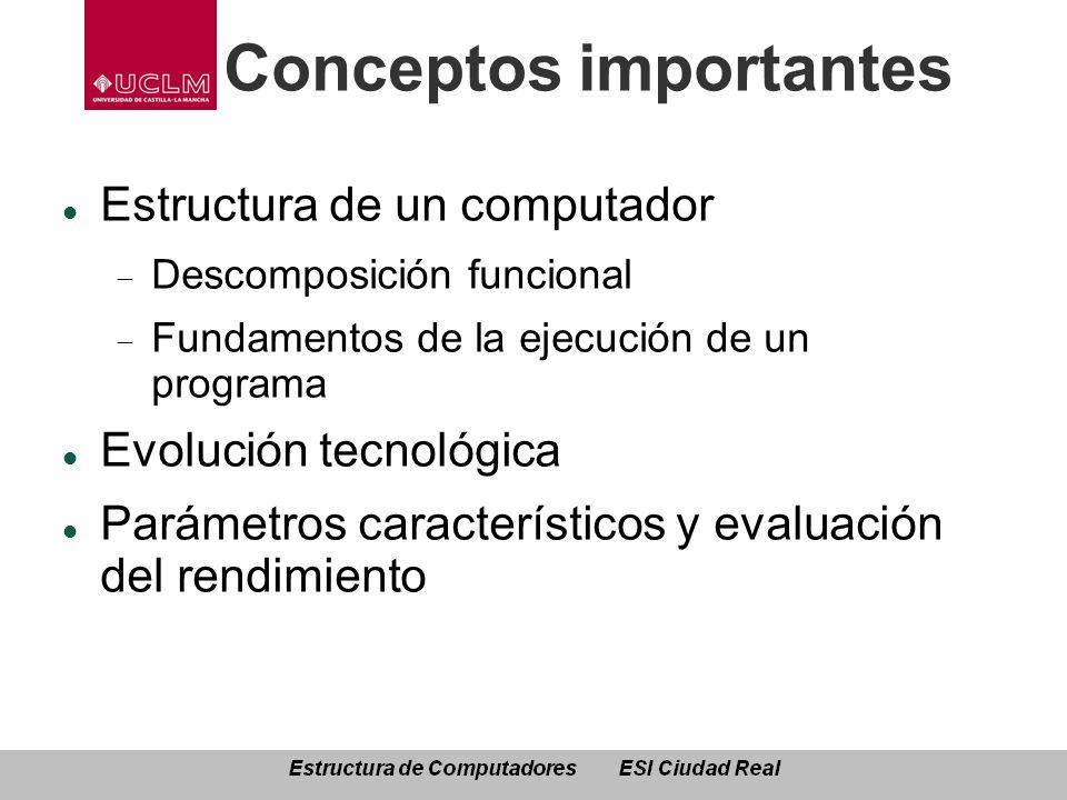 Conceptos importantes Estructura de un computador Descomposición funcional Fundamentos de la ejecución de un programa Evolución tecnológica Parámetros