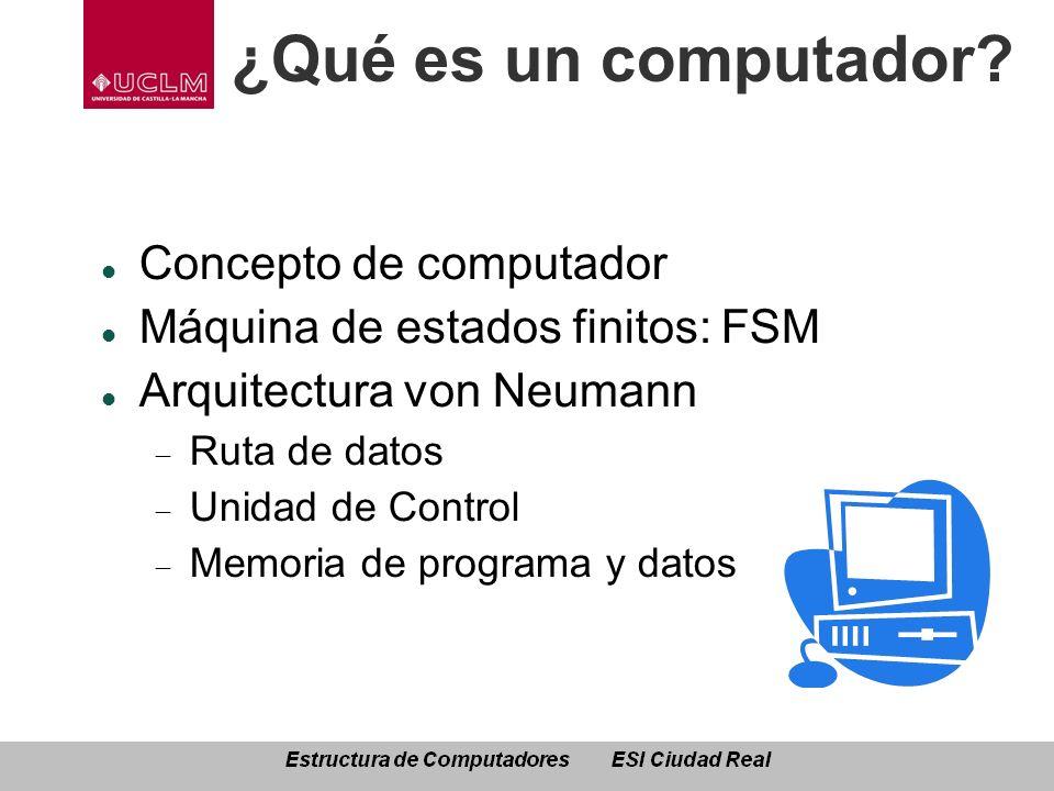 ¿Qué es un computador? Concepto de computador Máquina de estados finitos: FSM Arquitectura von Neumann Ruta de datos Unidad de Control Memoria de prog