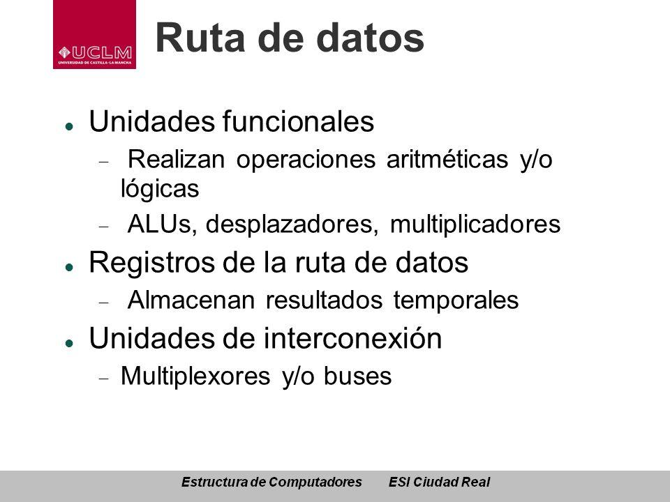 Ruta de datos Unidades funcionales Realizan operaciones aritméticas y/o lógicas ALUs, desplazadores, multiplicadores Registros de la ruta de datos Alm