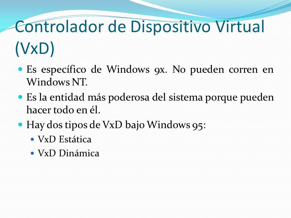Controlador de Dispositivo Virtual (VxD) Es específico de Windows 9x. No pueden corren en Windows NT. Es la entidad más poderosa del sistema porque pu