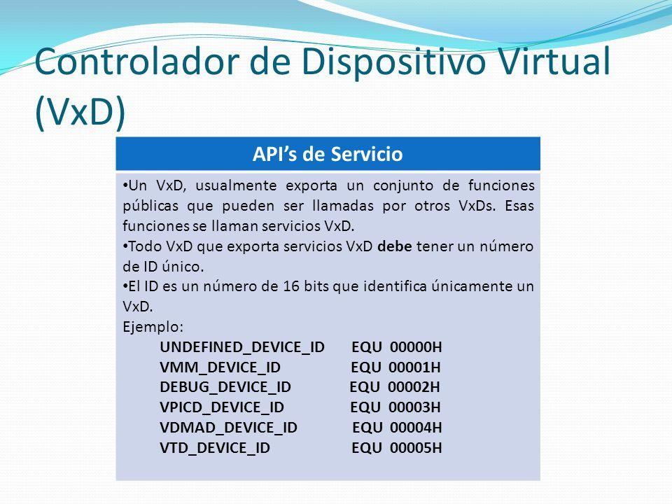 Controlador de Dispositivo Virtual (VxD) APIs de Servicio Un VxD, usualmente exporta un conjunto de funciones públicas que pueden ser llamadas por otr