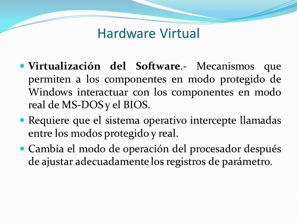 Hardware Virtual Virtualización del Software.- Mecanismos que permiten a los componentes en modo protegido de Windows interactuar con los componentes