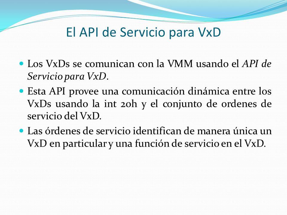 El API de Servicio para VxD Los VxDs se comunican con la VMM usando el API de Servicio para VxD. Esta API provee una comunicación dinámica entre los V