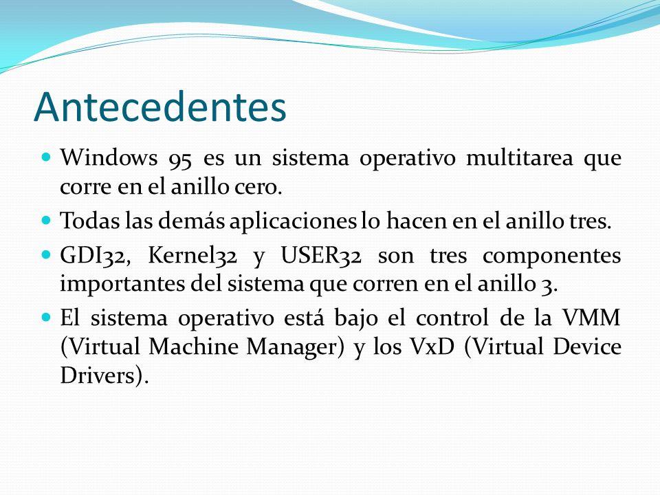 Ejemplo de un VxD en Lenguaje Ensamblador l.386p include vmm.inc include shell.inc DECLARE_VIRTUAL_DEVICE MENSAJE,1,0, MENSAJE_Control, UNDEFINED_DEVICE_ID, UNDEFINED_INIT_ORDER Begin_control_dispatch MENSAJE Control_Dispatch Create_VM, OnVMCreate Control_Dispatch VM_Terminate2, OnVMClose End_control_dispatch MENSAJE VxD_PAGEABLE_DATA_SEG MsgTitle db Cuadro de dialogo de un VxD ,0 VMCreated db Una VM es creada ,0 VMDestroyed db Una VM es destruida ,0 VxD_PAGEABLE_DATA_ENDS VxD_PAGEABLE_CODE_SEG BeginProc OnVMCreate mov ecx, OFFSET32 VMCreated CommonCode: VMMCall Get_sys_vm_handle mov eax,MB_OK+MB_ICONEXCLAMATION mov edi, OFFSET32 MsgTitle xor esi,esi xor edx,edx VxDCall SHELL_Message ret EndProc OnVMCreate BeginProc OnVMClose mov ecx,OFFSET32 VMDestroyed jmp CommonCode EndProc OnVMClose VxD_PAGEABLE_CODE_ENDS End