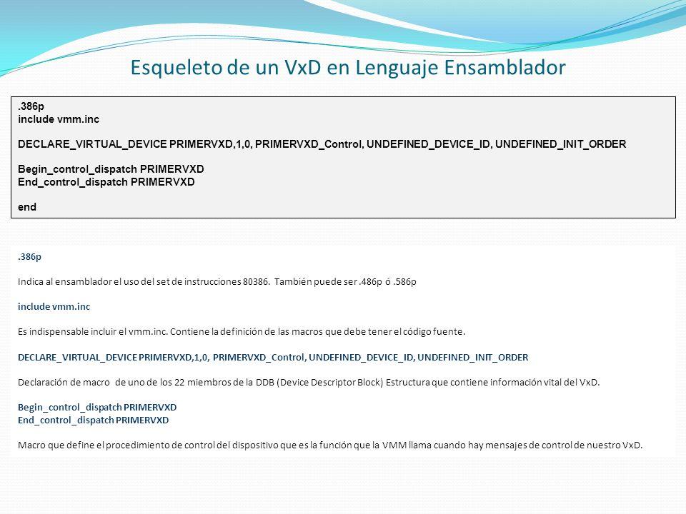 Esqueleto de un VxD en Lenguaje Ensamblador.386p include vmm.inc DECLARE_VIRTUAL_DEVICE PRIMERVXD,1,0, PRIMERVXD_Control, UNDEFINED_DEVICE_ID, UNDEFIN