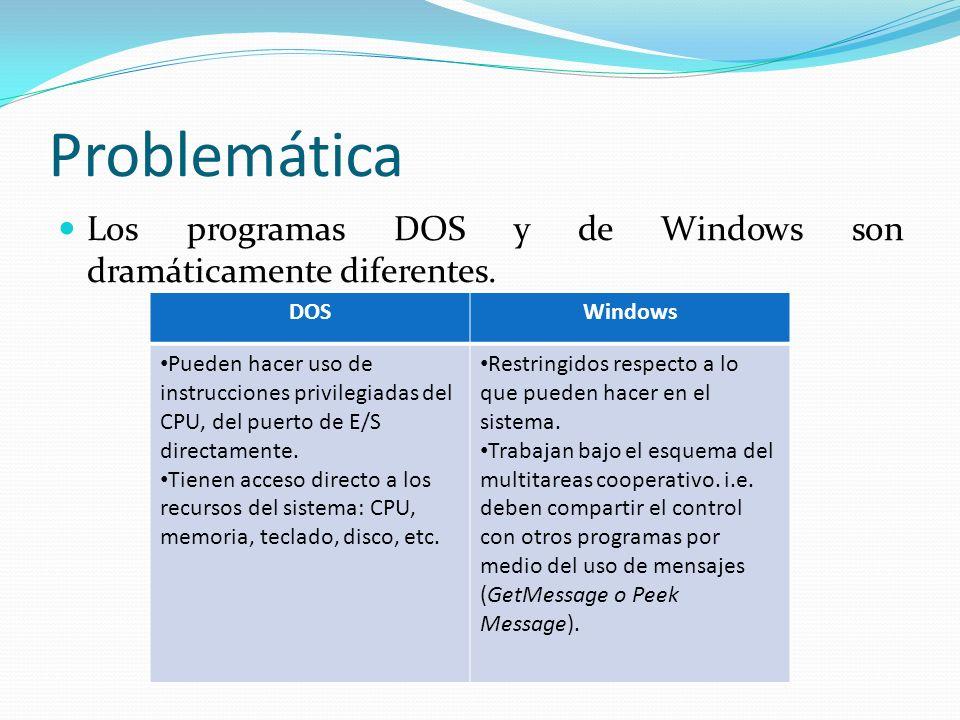 Problemática Los programas DOS y de Windows son dramáticamente diferentes. DOSWindows Pueden hacer uso de instrucciones privilegiadas del CPU, del pue