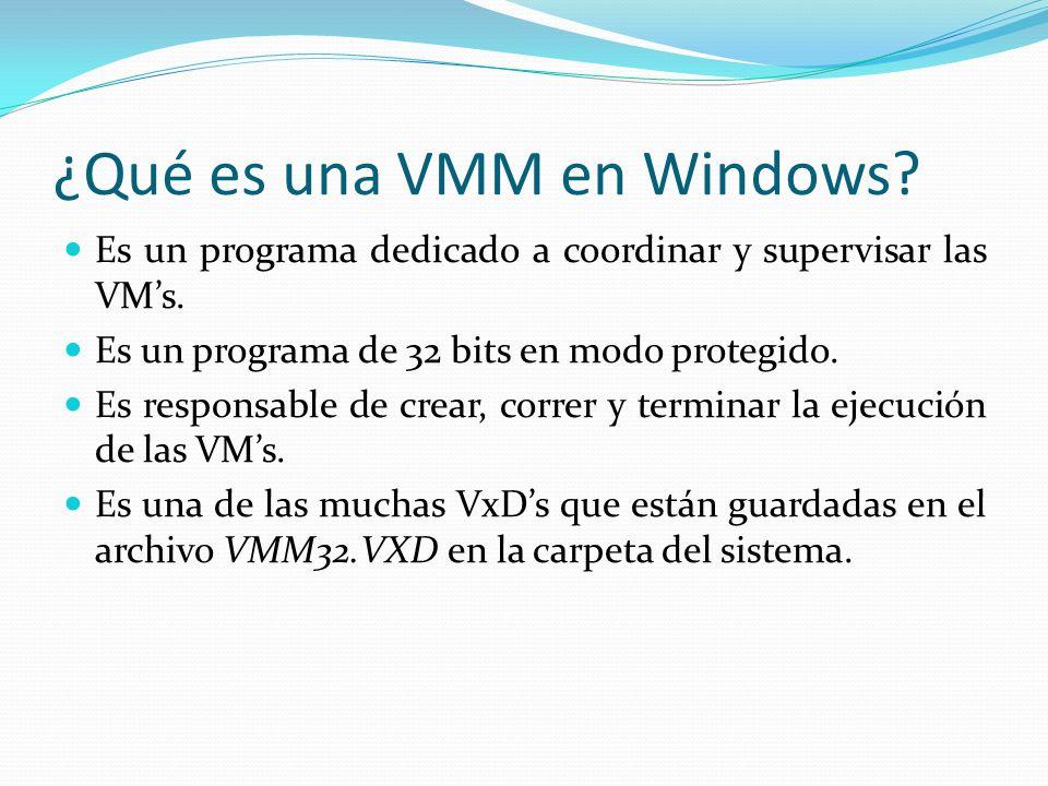 ¿Qué es una VMM en Windows? Es un programa dedicado a coordinar y supervisar las VMs. Es un programa de 32 bits en modo protegido. Es responsable de c