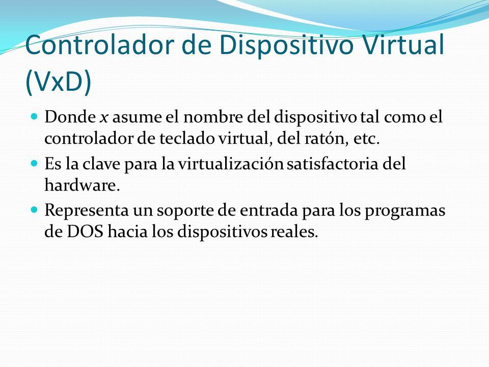 Controlador de Dispositivo Virtual (VxD) Donde x asume el nombre del dispositivo tal como el controlador de teclado virtual, del ratón, etc. Es la cla