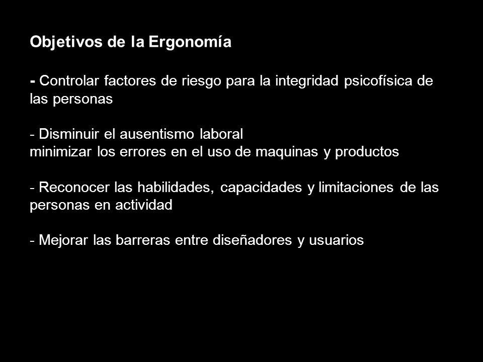Objetivos de la Ergonomía - Lograr efectividad en las actividades humanas - Alcanzar salud, seguridad, satisfacción en los procesos - Reducir lesiones