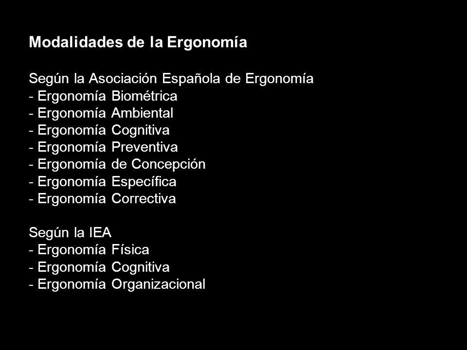 Modalidades de la Ergonomía Según el objetivo: - Ergonomía del Producto - Ergonomía de la Producción Según la perspectiva: - Ergonomía de Concepción -