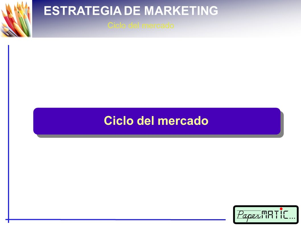 ESTRATEGIA DE MARKETING Ciclo del mercado