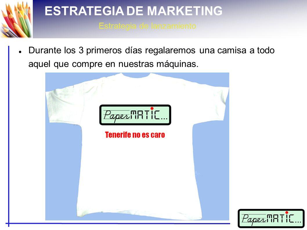 ESTRATEGIA DE MARKETING Estrategia de lanzamiento Durante los 3 primeros días regalaremos una camisa a todo aquel que compre en nuestras máquinas.