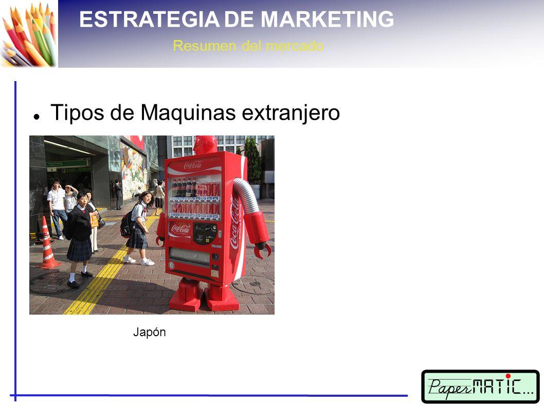 ESTRATEGIA DE MARKETING Resumen del mercado Tipos de Maquinas extranjero Japón Holanda