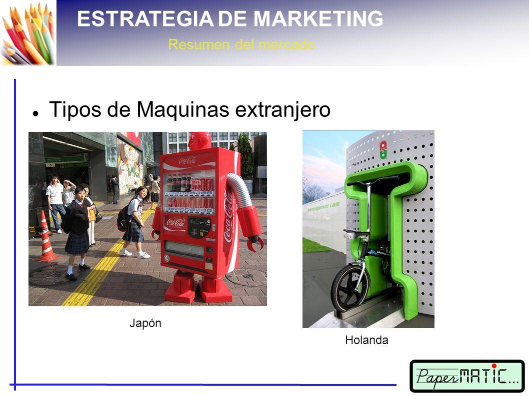 ESTRATEGIA DE MARKETING Resumen del mercado Tipos de Maquinas extranjero Japón