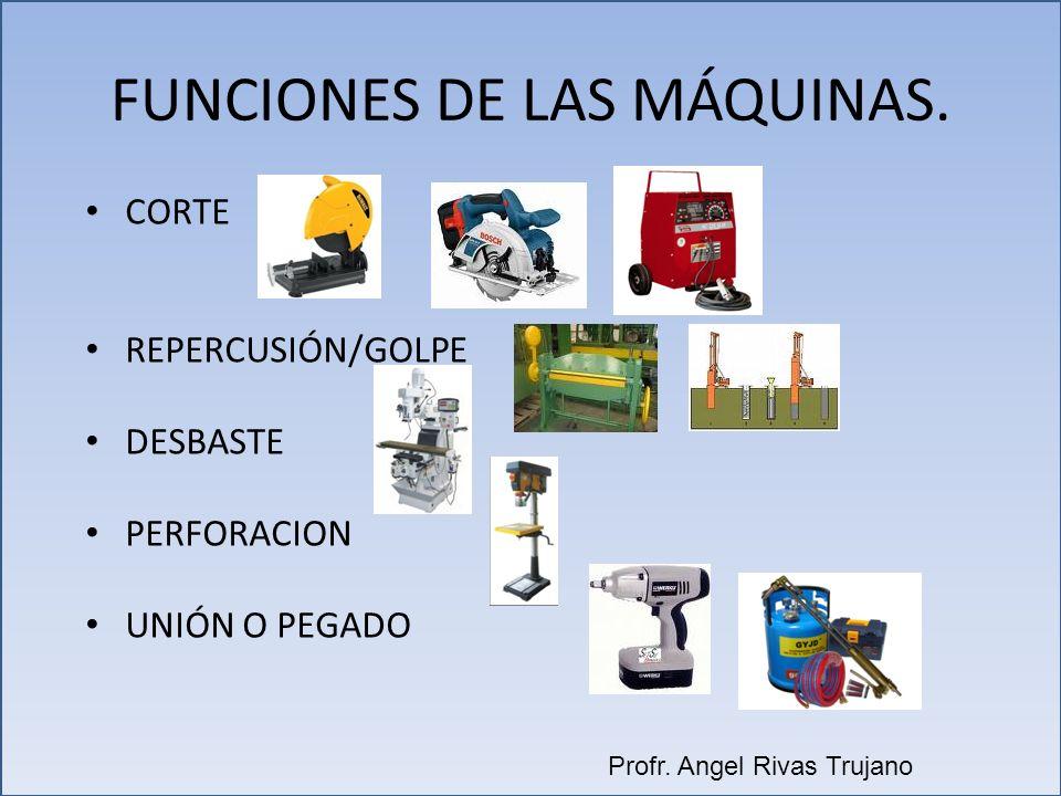 FUNCIONES DE LAS MÁQUINAS. CORTE REPERCUSIÓN/GOLPE DESBASTE PERFORACION UNIÓN O PEGADO Profr. Angel Rivas Trujano