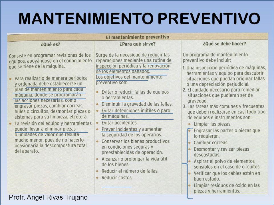 MANTENIMIENTO PREVENTIVO Profr. Angel Rivas Trujano