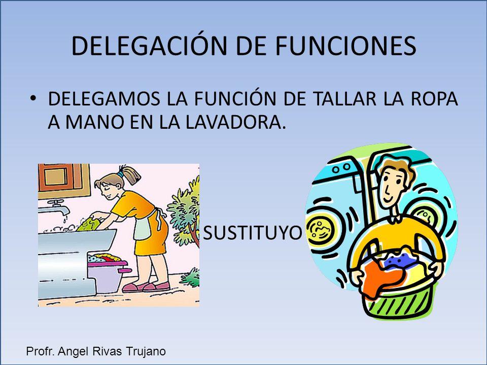 DELEGAMOS LA FUNCIÓN DE TALLAR LA ROPA A MANO EN LA LAVADORA. DELEGACIÓN DE FUNCIONES SUSTITUYO Profr. Angel Rivas Trujano