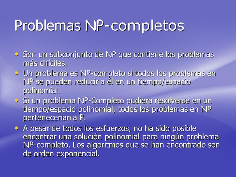 Problemas NP -completos Son un subconjunto de NP que contiene los problemas más difíciles.