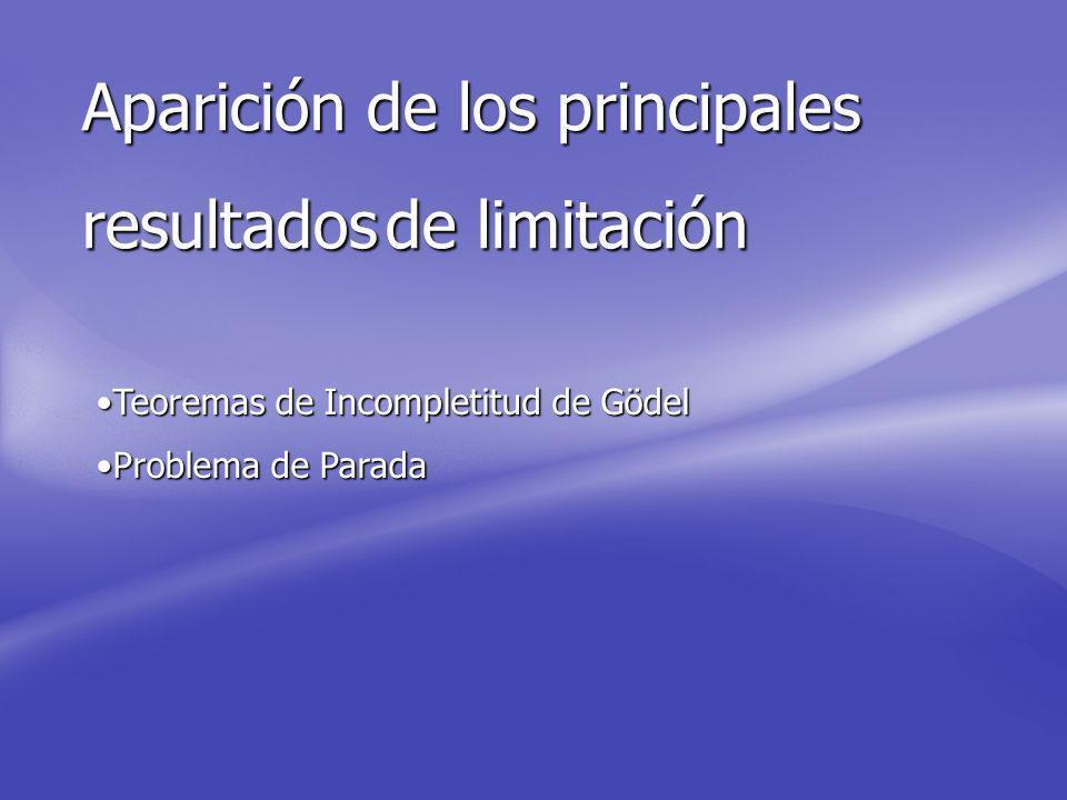 Aparición de los principales resultadosde limitación resultados de limitación Teoremas de Incompletitud de GödelTeoremas de Incompletitud de Gödel Problema de ParadaProblema de Parada