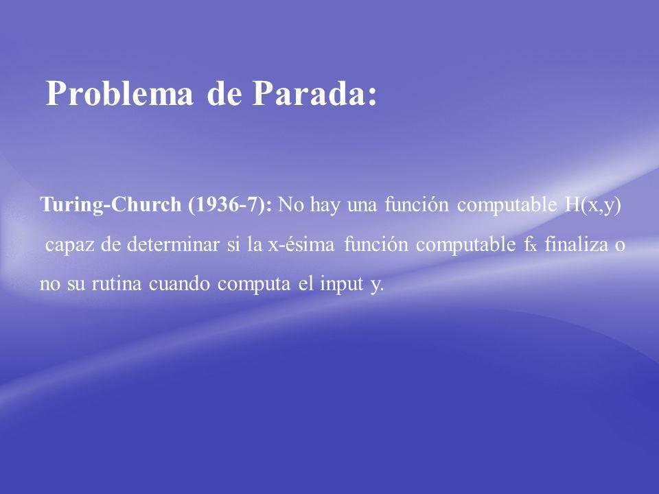 Problema de Parada: Turing-Church (1936-7): No hay una función computable H(x,y) capaz de determinar si la x-ésima función computable f x finaliza o no su rutina cuando computa el input y.