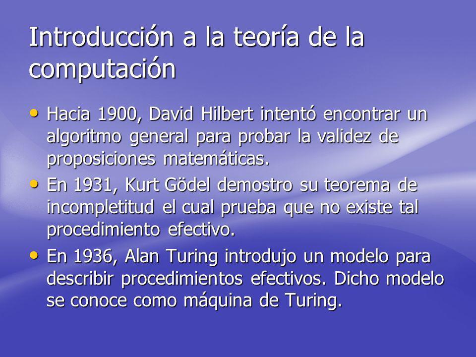 Introducción a la teoría de la computación Hacia 1900, David Hilbert intentó encontrar un algoritmo general para probar la validez de proposiciones matemáticas.