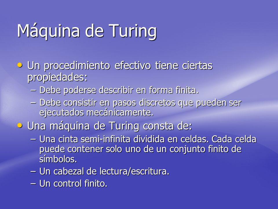 Máquina de Turing Un procedimiento efectivo tiene ciertas propiedades: Un procedimiento efectivo tiene ciertas propiedades: –Debe poderse describir en forma finita.