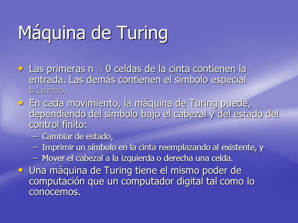 Máquina de Turing Las primeras n 0 celdas de la cinta contienen la entrada.