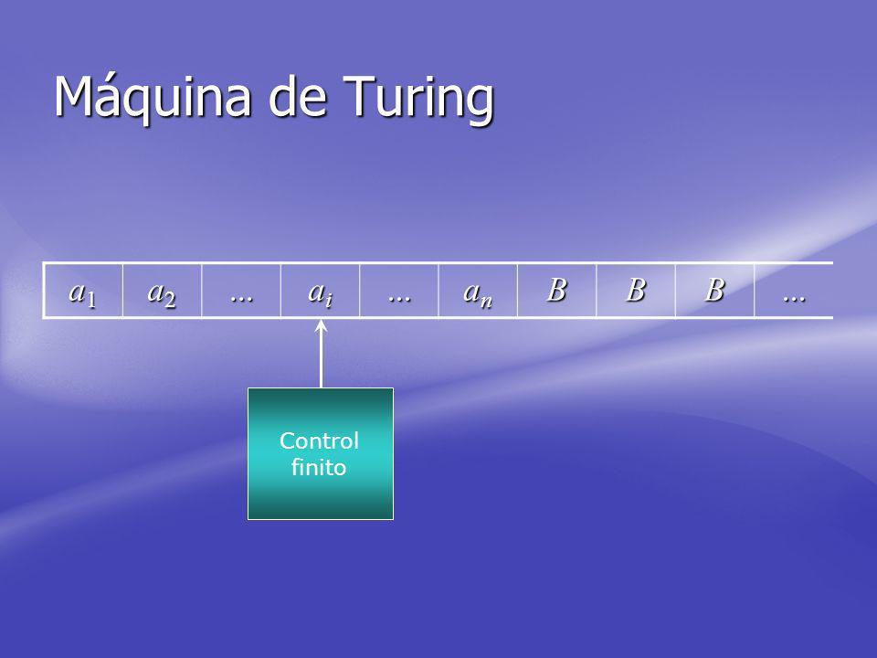 Máquina de Turing a1a1a1a1 a2a2a2a2... aiaiaiai... ananananBBB... Control finito