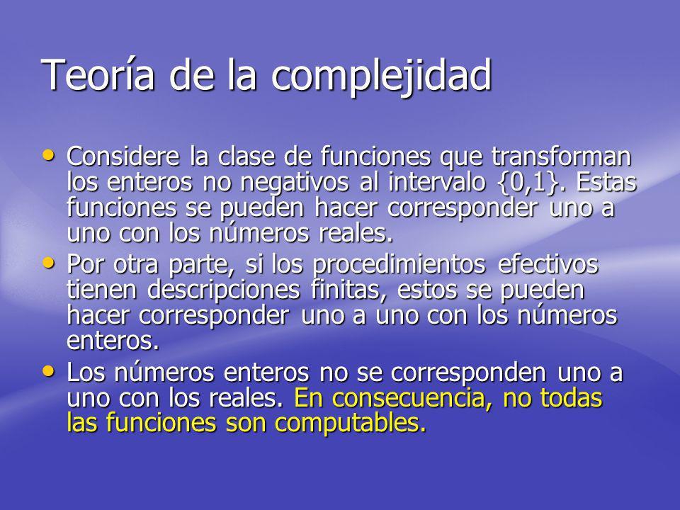 Teoría de la complejidad Considere la clase de funciones que transforman los enteros no negativos al intervalo {0,1}.