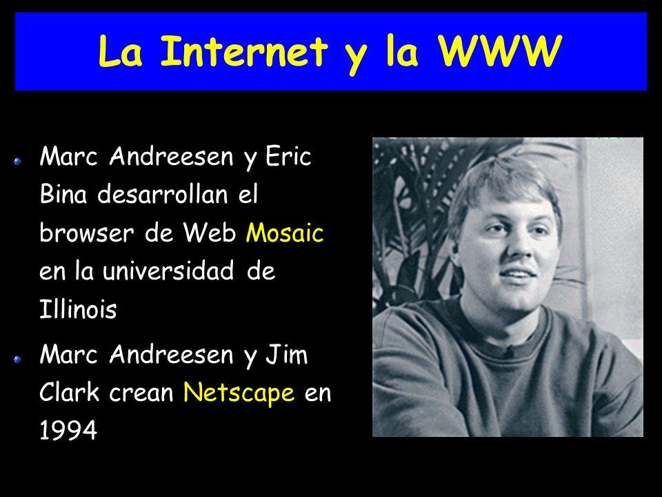 La Internet y la WWW Marc Andreesen y Eric Bina desarrollan el browser de Web Mosaic en la universidad de Illinois Marc Andreesen y Jim Clark crean Netscape en 1994