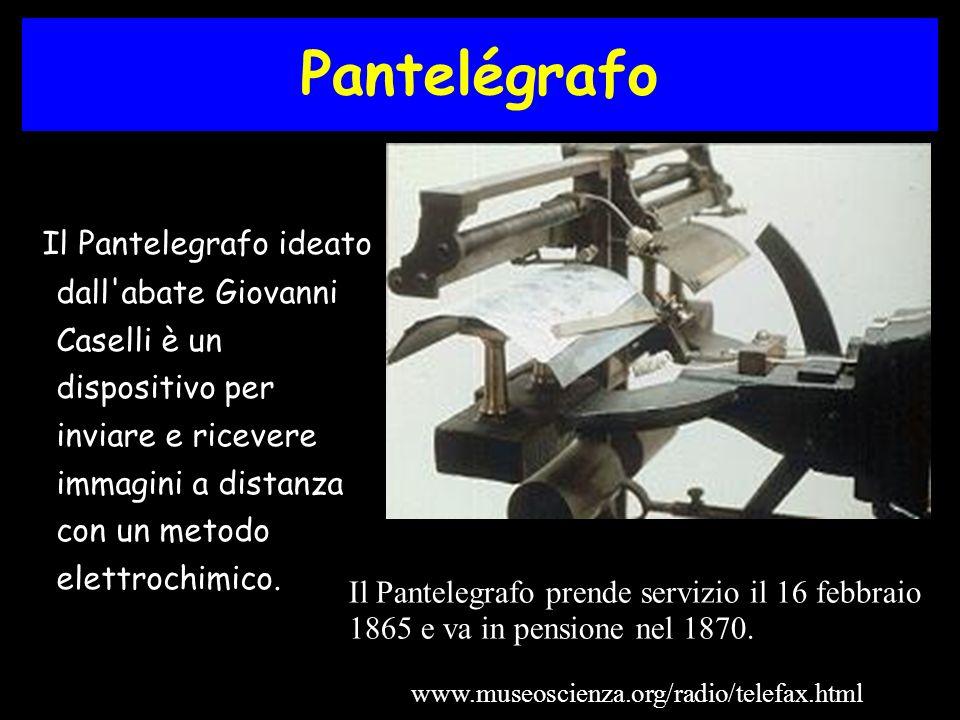 Pantelégrafo Il Pantelegrafo ideato dall abate Giovanni Caselli è un dispositivo per inviare e ricevere immagini a distanza con un metodo elettrochimico.