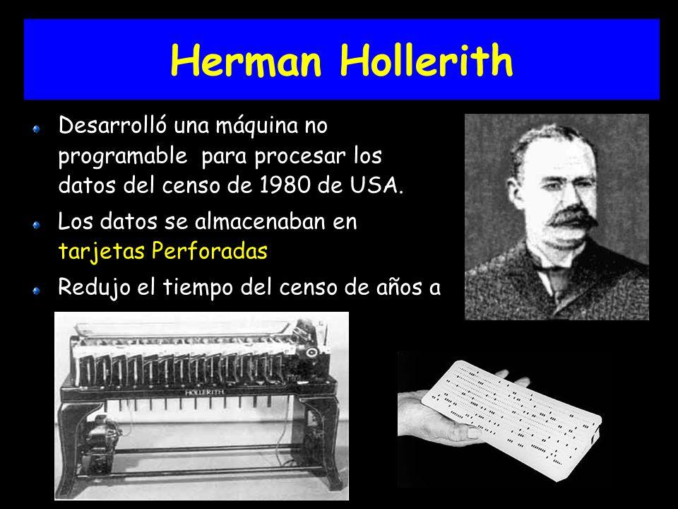Herman Hollerith Desarrolló una máquina no programable para procesar los datos del censo de 1980 de USA.