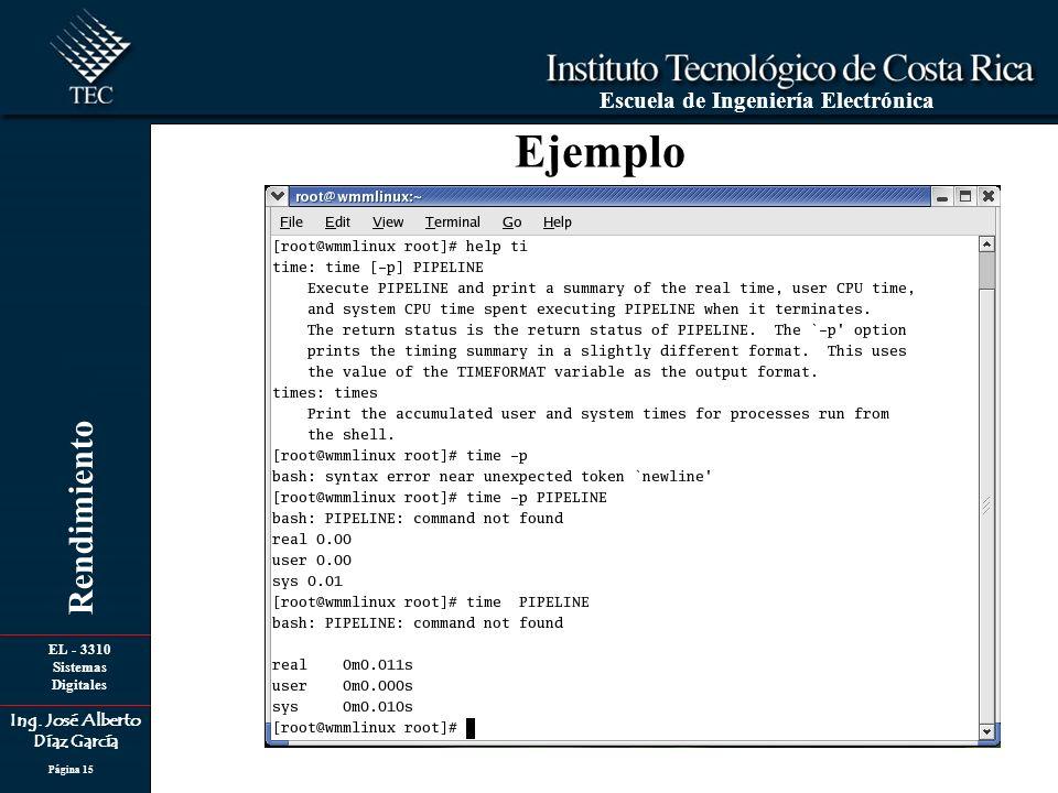 EL - 3310 Sistemas Digitales Ing. José Alberto Díaz García Escuela de Ingeniería Electrónica Rendimiento Página 15 Ejemplo