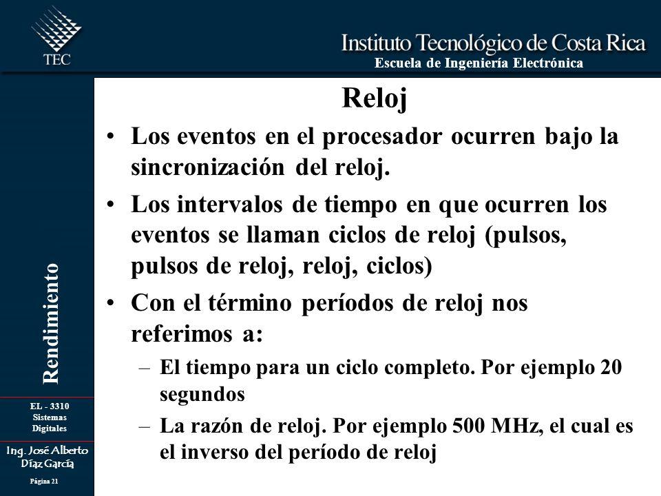 EL - 3310 Sistemas Digitales Ing. José Alberto Díaz García Escuela de Ingeniería Electrónica Rendimiento Página 21 Reloj Los eventos en el procesador