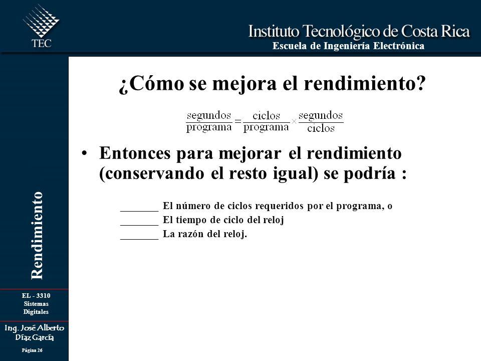 EL - 3310 Sistemas Digitales Ing. José Alberto Díaz García Escuela de Ingeniería Electrónica Rendimiento Página 26 Entonces para mejorar el rendimient