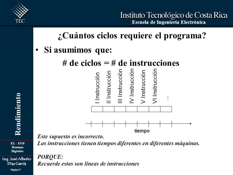 EL - 3310 Sistemas Digitales Ing. José Alberto Díaz García Escuela de Ingeniería Electrónica Rendimiento Página 27 Si asumimos que: # de ciclos = # de