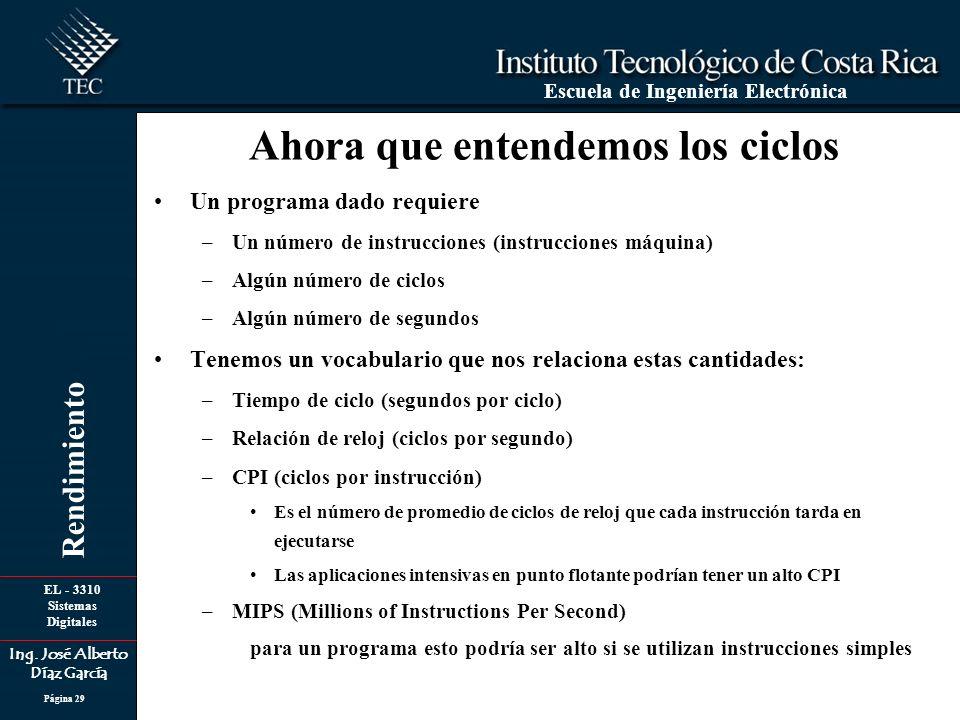 EL - 3310 Sistemas Digitales Ing. José Alberto Díaz García Escuela de Ingeniería Electrónica Rendimiento Página 29 Un programa dado requiere –Un númer