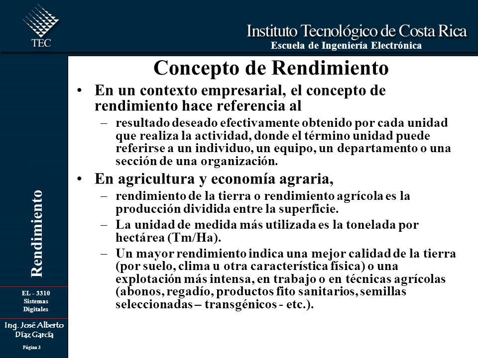 EL - 3310 Sistemas Digitales Ing. José Alberto Díaz García Escuela de Ingeniería Electrónica Rendimiento Página 3 Concepto de Rendimiento En un contex