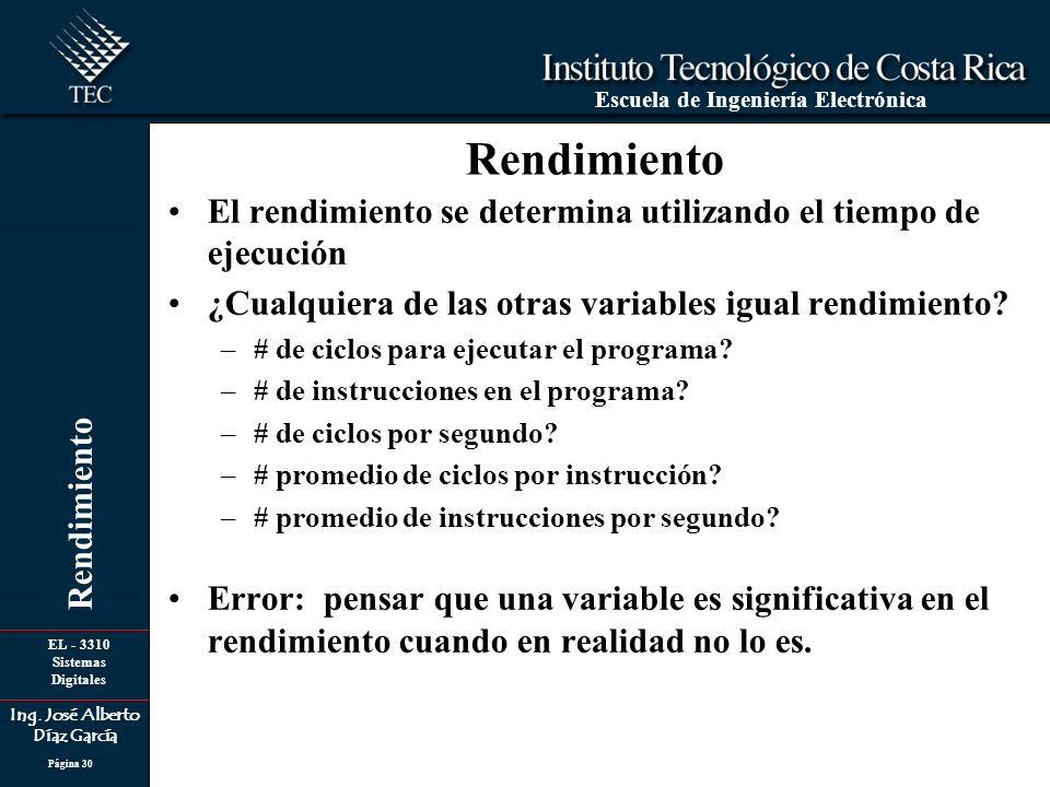 EL - 3310 Sistemas Digitales Ing. José Alberto Díaz García Escuela de Ingeniería Electrónica Rendimiento Página 30 Rendimiento El rendimiento se deter