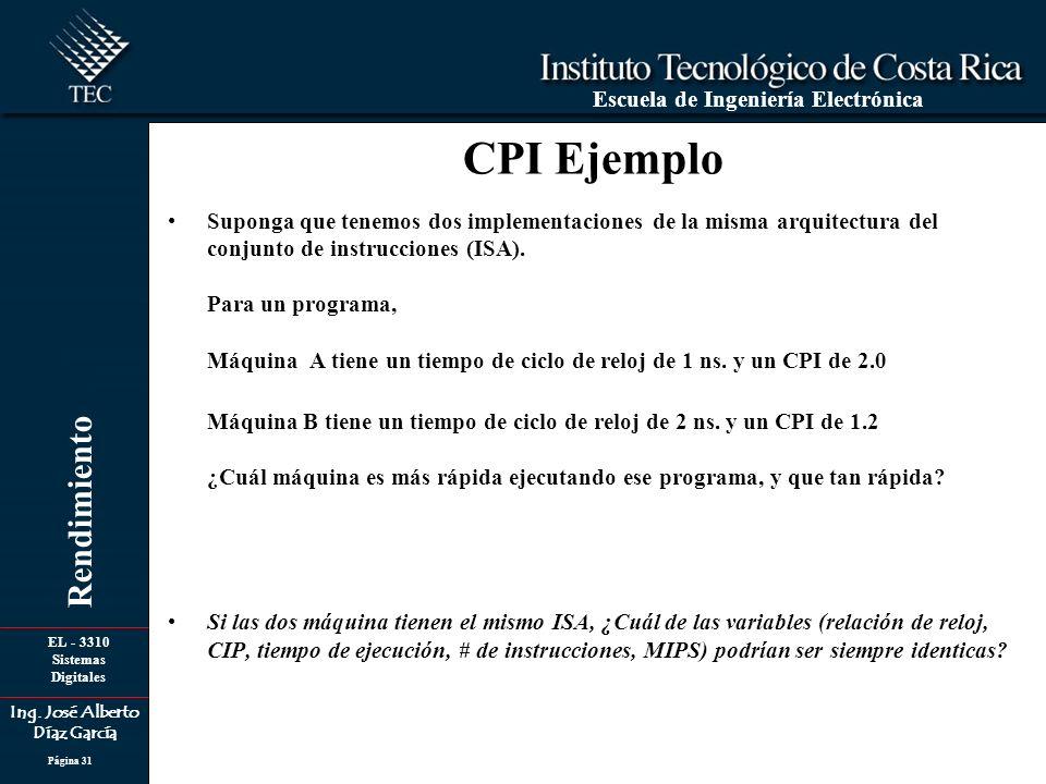 EL - 3310 Sistemas Digitales Ing. José Alberto Díaz García Escuela de Ingeniería Electrónica Rendimiento Página 31 Suponga que tenemos dos implementac