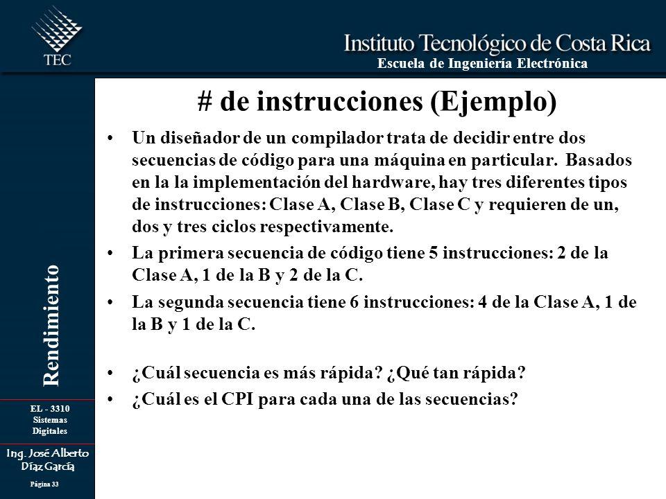 EL - 3310 Sistemas Digitales Ing. José Alberto Díaz García Escuela de Ingeniería Electrónica Rendimiento Página 33 Un diseñador de un compilador trata