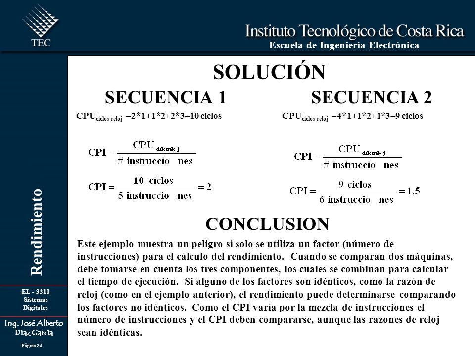 EL - 3310 Sistemas Digitales Ing. José Alberto Díaz García Escuela de Ingeniería Electrónica Rendimiento Página 34 SOLUCIÓN SECUENCIA 1 CPU ciclos rel