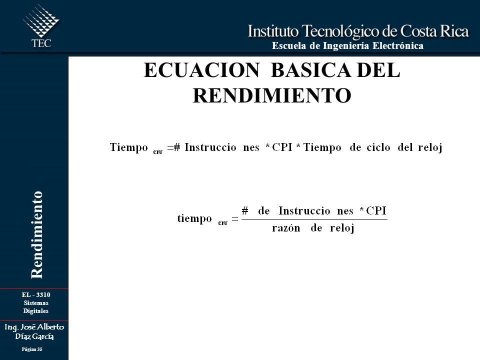 EL - 3310 Sistemas Digitales Ing. José Alberto Díaz García Escuela de Ingeniería Electrónica Rendimiento Página 35 ECUACION BASICA DEL RENDIMIENTO