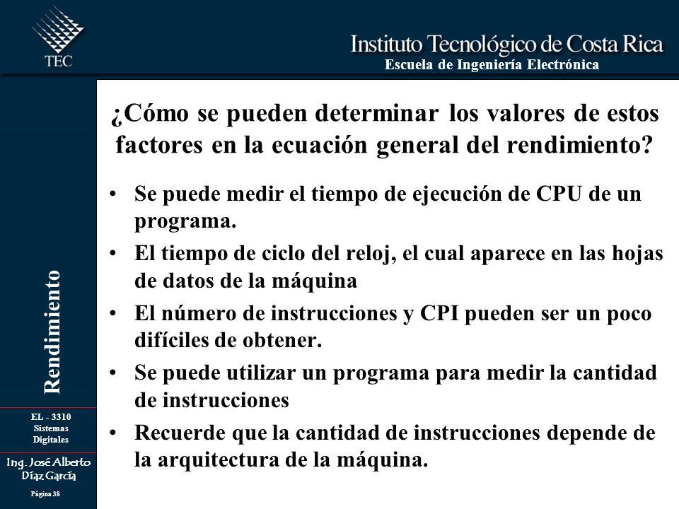 EL - 3310 Sistemas Digitales Ing. José Alberto Díaz García Escuela de Ingeniería Electrónica Rendimiento Página 38 ¿Cómo se pueden determinar los valo