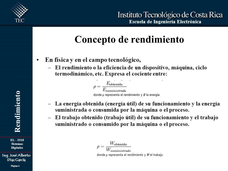 EL - 3310 Sistemas Digitales Ing. José Alberto Díaz García Escuela de Ingeniería Electrónica Rendimiento Página 4 Concepto de rendimiento En física y
