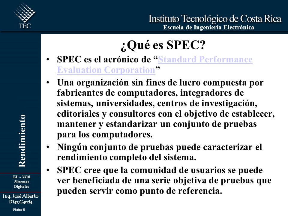 EL - 3310 Sistemas Digitales Ing. José Alberto Díaz García Escuela de Ingeniería Electrónica Rendimiento Página 41 ¿Qué es SPEC? SPEC es el acrónico d