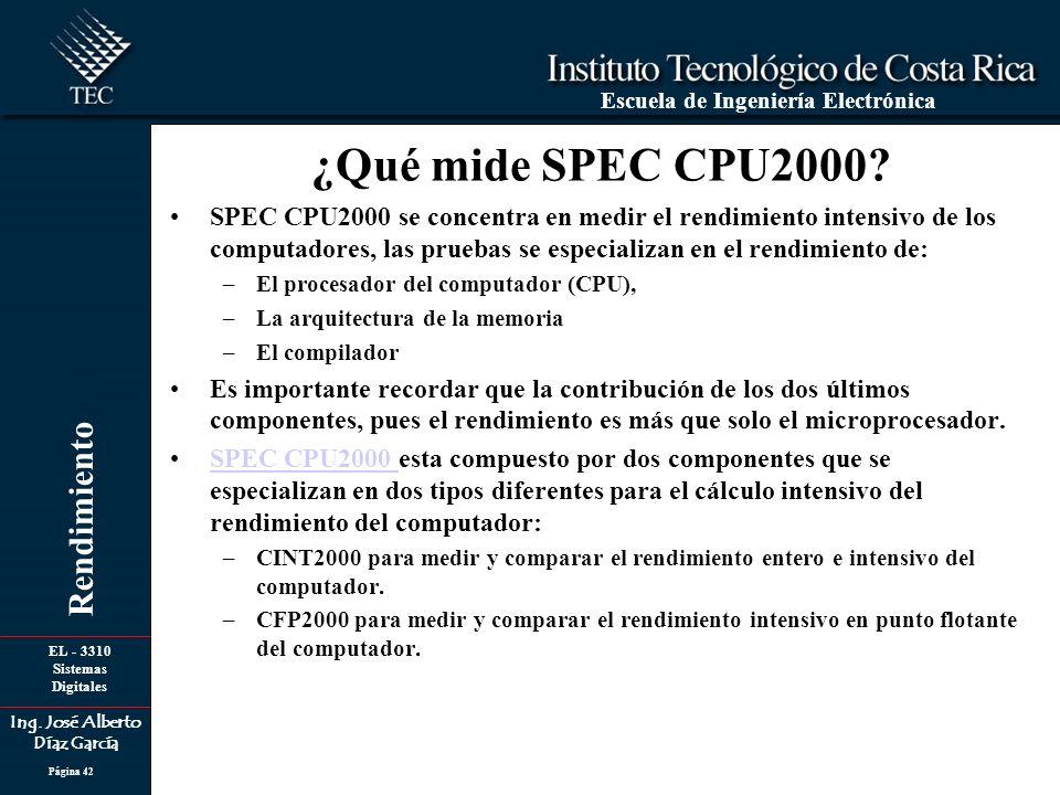 EL - 3310 Sistemas Digitales Ing. José Alberto Díaz García Escuela de Ingeniería Electrónica Rendimiento Página 42 ¿Qué mide SPEC CPU2000? SPEC CPU200