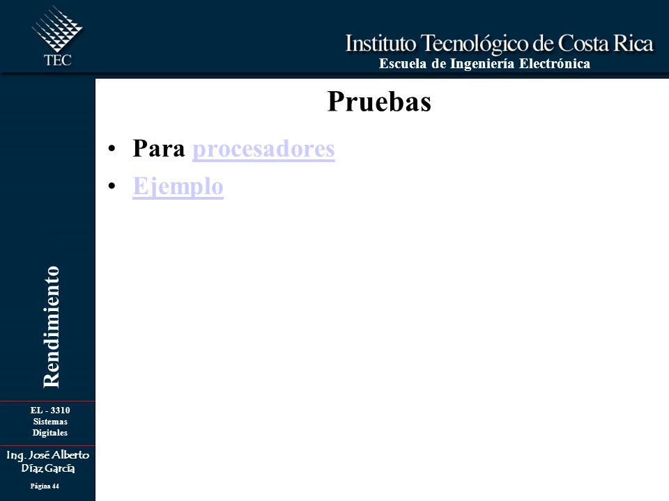 EL - 3310 Sistemas Digitales Ing. José Alberto Díaz García Escuela de Ingeniería Electrónica Rendimiento Página 44 Pruebas Para procesadoresprocesador