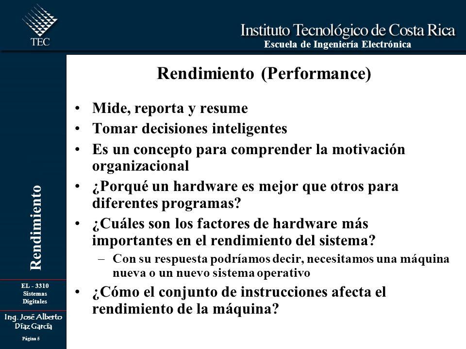 EL - 3310 Sistemas Digitales Ing. José Alberto Díaz García Escuela de Ingeniería Electrónica Rendimiento Página 5 Mide, reporta y resume Tomar decisio