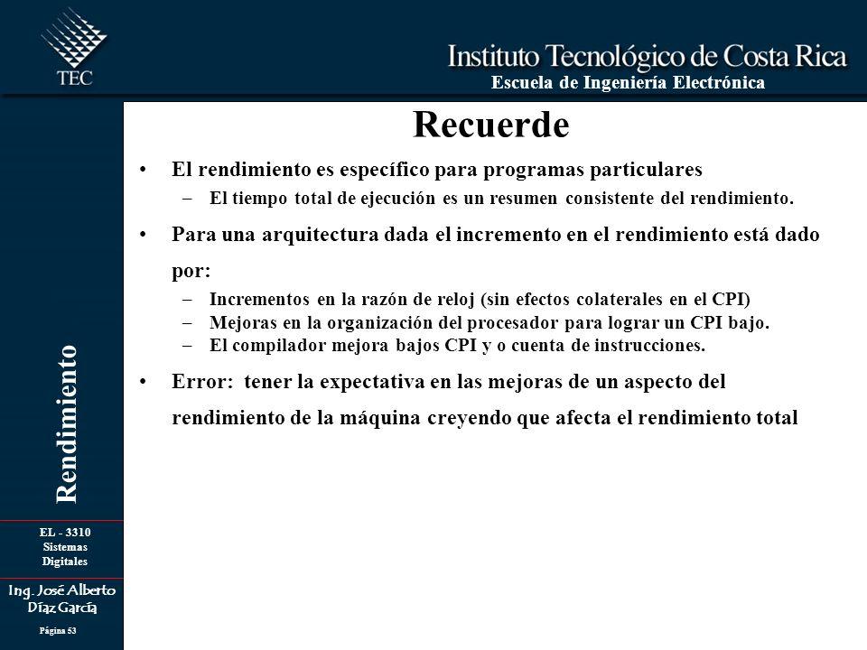 EL - 3310 Sistemas Digitales Ing. José Alberto Díaz García Escuela de Ingeniería Electrónica Rendimiento Página 53 El rendimiento es específico para p